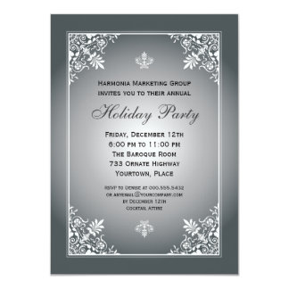Baroque Elegance Silver Corporate Holiday Party Card