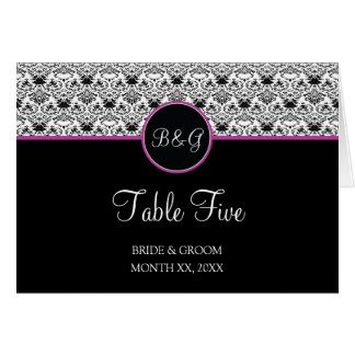 Baroque Elegance Table 5 Cards  (Hot Pink)