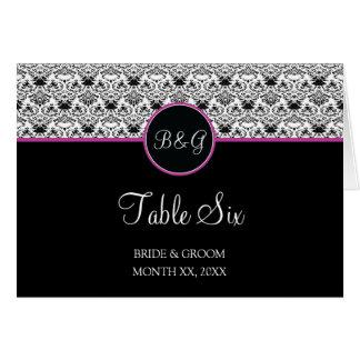 Baroque Elegance Table 6 Cards  (Hot Pink)