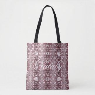 baroque floral purple pattern tote bag