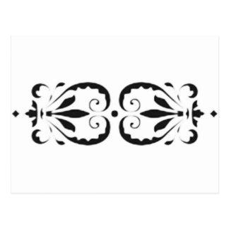 Baroque florales classical sample black print post cards
