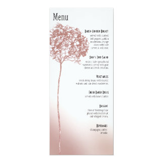 Baroque Flowerball Dinner Menu - mulberry 4x9.25 Paper Invitation Card