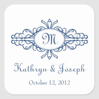 Baroque frame mongram navy blue wedding favor tag