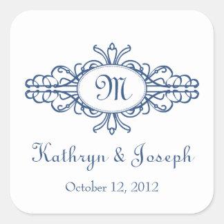 Baroque frame mongram navy blue wedding favour tag square sticker