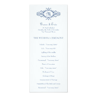 Baroque frame monogram navy blue wedding program 10 cm x 24 cm invitation card