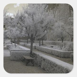 Baroque garden/infrared photography square sticker