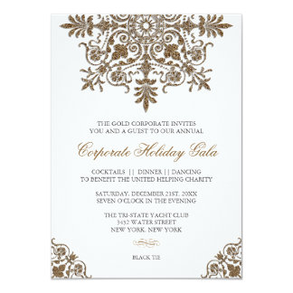 Baroque Gold Glitter Look Holiday Party Card