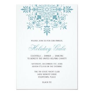 Baroque Ice Blue Ornamental Holiday Gala Card