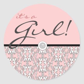 Baroque in Pink It's a Girl Classic Round Sticker
