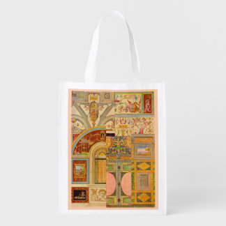 baroque Italian motifs collage Reusable Grocery Bag