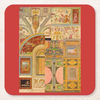baroque Italian motifs collage Square Paper Coaster