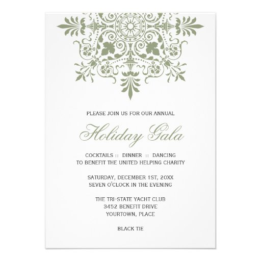 Baroque Jade Ornamental Holiday Gala Personalized Invites