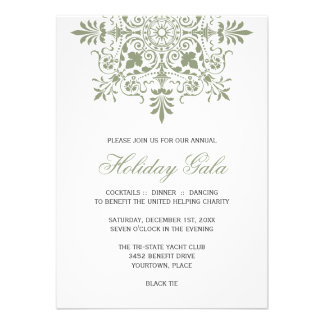 Baroque Jade Ornamental Holiday Gala Personalized Invites