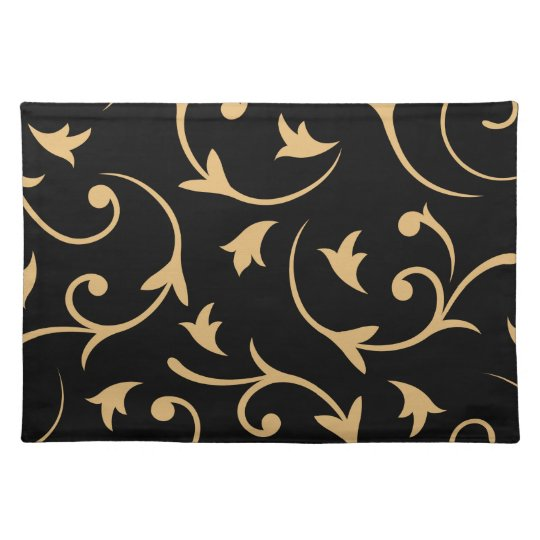 Baroque Large Design Black & Gold Placemat