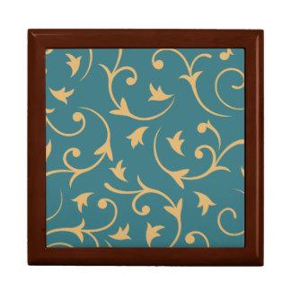 Baroque Large Design Teal & Gold Gift Box
