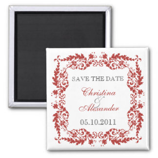 Baroque Leafy Frame Save The Date Magnet