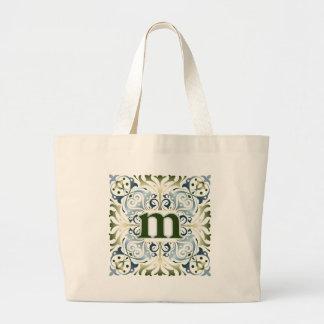 Baroque Letter M Large Tote Bag