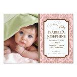 Baroque Pattern Baby Birth Announcement (pink)