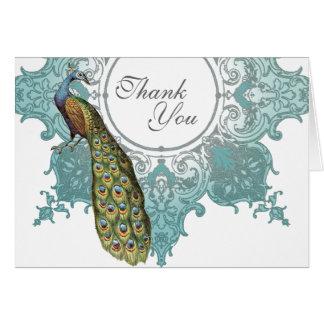 Baroque Peacock Wedding Thank You Note - Aqua Blue Card