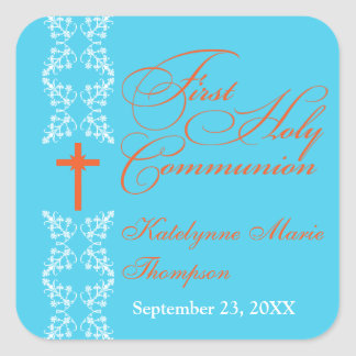 Baroque Strip Cyan First Holy Communion Square Sticker