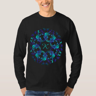 Baroque styl blue element. monogram . T-Shirt