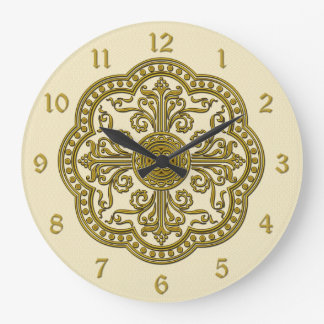 Baroque Style Brass Circle Medallion Clock Cream
