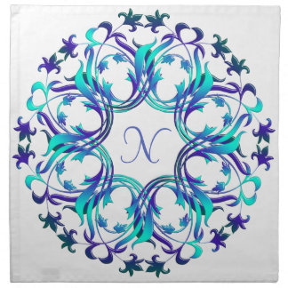 Baroque style floral circle element. monogram. napkin