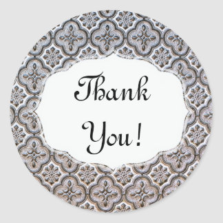"Baroque Style Metal Relief ""Thank You"" Sticker"