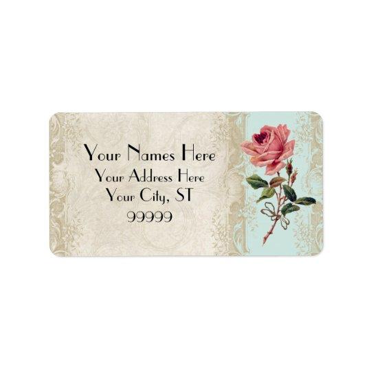Baroque Style Vintage Rose Aqua n Cream Lace Label