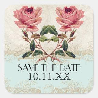 Baroque Style Vintage Rose Aqua n Cream Lace Square Sticker