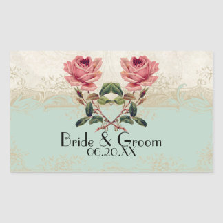 Baroque Style Vintage Rose Mint n Cream Lace Rectangular Sticker