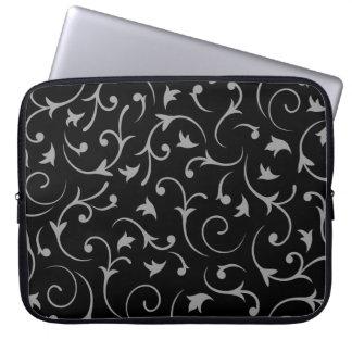Baroque Swirls – Black & Grey Laptop Sleeve