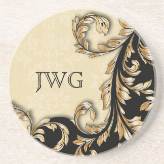 Baroque Swirls Personalized Coaster