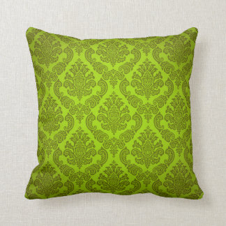 Baroque Vintage Damask | citron Throw Pillow