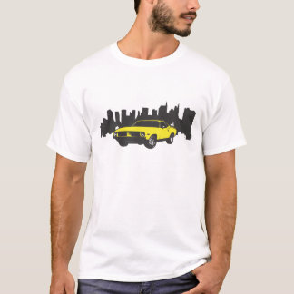 Barracuda Vintage Car with Cityscape Backdrop T-Shirt