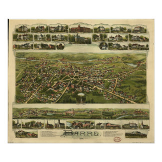 Barre Massachusetts 1891 Antique Panoramic Map Poster