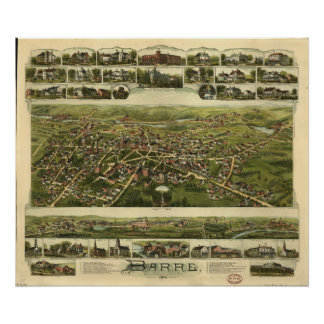Barre Massachusetts 1891 Antique Panoramic Map Posters