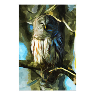 Barred Owl in Tree Abstract Impressionism Photo