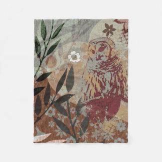 Barred Owl Nature Heart Leaves Flowers Tapestry Fleece Blanket