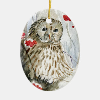 Barred Owl watercolor painting Ceramic Oval Decoration