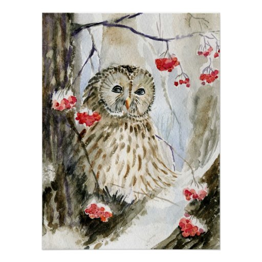 Barred Owl watercolor Perfect Poster