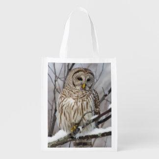 Barred Owl with a light snowfall Reusable Grocery Bag