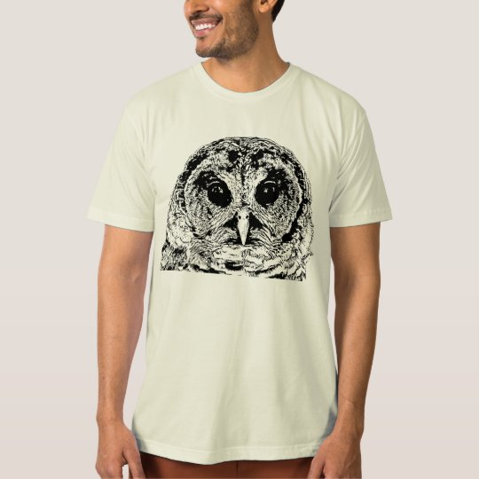 Barred Owls on Natural Organic Cotton T-Shirt