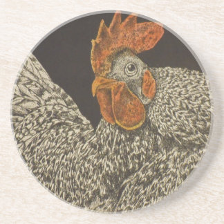 barred rock rooster coaster
