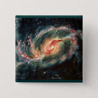 Barred Spiral Galaxy 15 Cm Square Badge