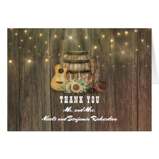 Barrel and Cowboy Boots Country Wedding Thank You Card