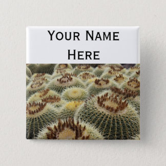 Barrel cactus pin-back button name tag