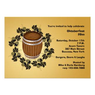 Barrel of Beer Oktoberfest Invitation