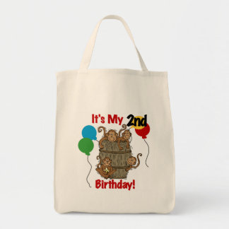 Barrel of Monkeys 2nd Birthday Tshirts and Gifts Grocery Tote Bag