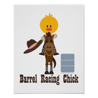 Barrel Racing Chick Poster